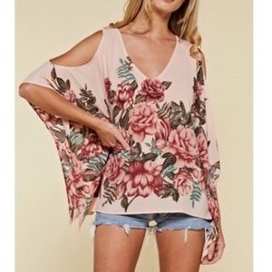Tops - Gorgeous Rose printed cold shoulder top NWT L